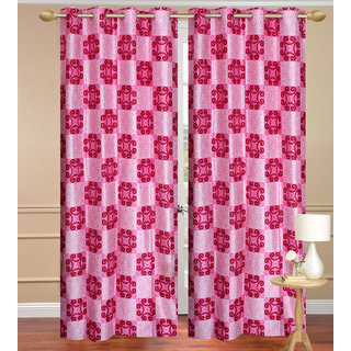 Red Long Door set of 2 pcs (4x9 feet) - Eyelet Polyester Curtain-Purav Light