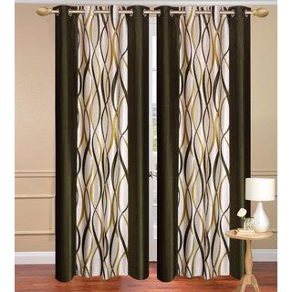 Green Door set of 2 pcs (4x7 feet) - Eyelet Polyester Curtain-Purav Light