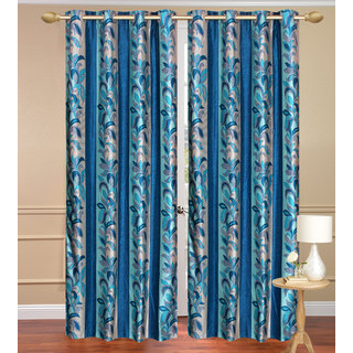 Blue Long Door set of 2 pcs (4x9 feet) - Eyelet Polyester Curtain-Purav Light