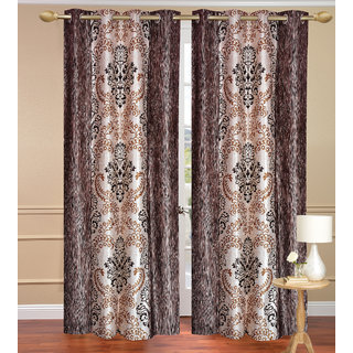 Brown Door set of 2 pcs (4x7 feet) - Eyelet Polyester Curtain-Purav Light