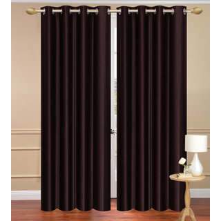 Solid Plain Brown Window set of 2 pcs (4x5 feet) - Eyelet Polyester Curtain-Purav Light
