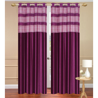 Cursh Purple Long Door set of 2 pcs (4x9 feet) - Eyelet Polyester Curtain-Purav Light