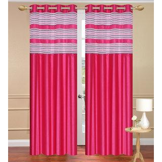 Cursh Pink Door set of 2 pcs (4x7 feet) - Eyelet Polyester Curtain-Purav Light