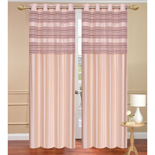 Cursh Cream Window set of 2 pcs (4x5 feet) - Eyelet Polyester Curtain-Purav Light