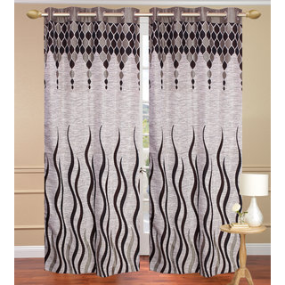 Jute Lehar Gray Door set of 2 pcs (4x7 feet) - Eyelet Curtain-Purav Light