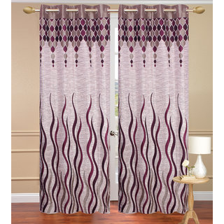 Jute Lehar Gray Long Door set of 2 pcs (4x9 feet) - Eyelet Curtain-Purav Light