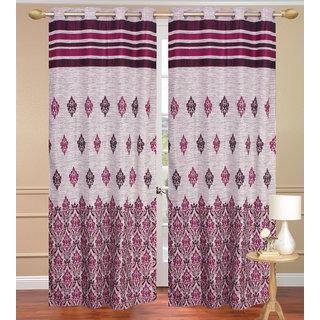 Jute Dhomas Purple Long Door set of 2 pcs (4x9 feet) - Eyelet Curtain-Purav Light