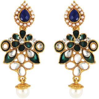 Traditional Peacock Green Floral Meenakari Earrings by Parisha with Kundan and Artificial Pearl ER7090030