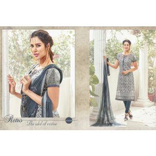 Gorgeous Grey All over Embroidered Salwar Kameez Dress Material