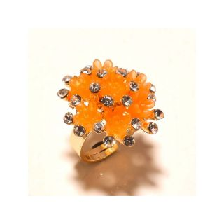 sanaa creations Fancy Orange Enamelling with round CZ on Top Ring