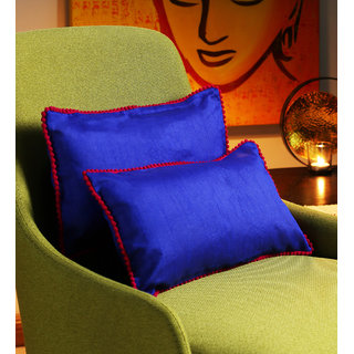 Rangdesi Blue Art Silk 7 x 14 Inch Cushion Covers with Pom Pom Lace  Fillers - Set of