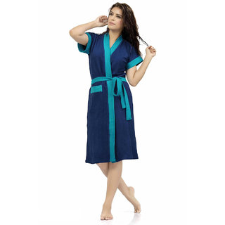 Be You Fashion Double Shaded Dark Blue- Frozi Cotton Bathrobe