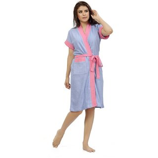 Be You Fashion Double Shaded Light Purple-Pink Cotton Bathrobe