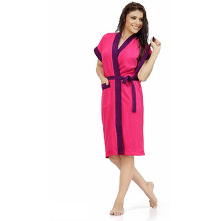 Be You Fashion Double Shaded Pink-Purple Cotton Bathrobe