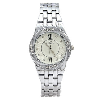 Lee Force Casualsilver Metal Strap Wrist Watch For Women