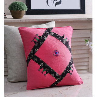 RangDesi Pink Cotton 16 x 16 Inch Handcrafted Cushion Cover - Set of 2