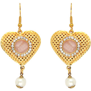Traditional Gold Plated Heart Love Dangler Earrings by Parisha with crystal and artificial pearl ER7090037