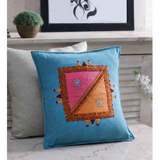 RangDesi Blue Cotton 16 x 16 Inch Handcrafted Cushion Cover - Set of 2