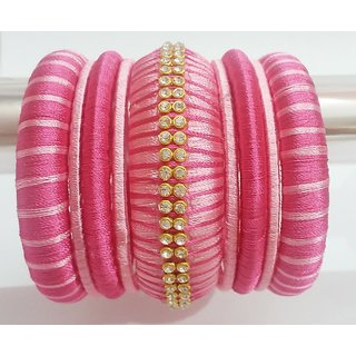 Silk Thread Bangles With Pink Colour