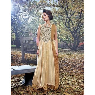 Viva N Diva Beige Colored Net And Brasso Net Gown.