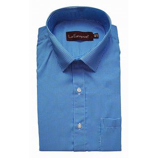 La Europian Turquoise Blue Checkered Formal Shirt