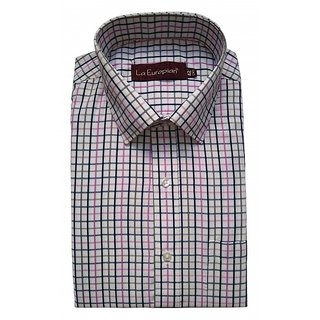 La Europian Purple + Grey + Black Checkered Formal Shirt