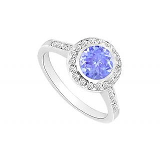 Angelic Tanzanite And Diamond Halo Engagement Ring With 14K White Gold