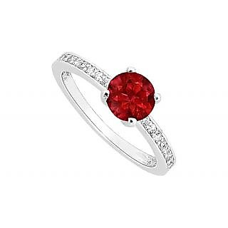 Beauteous Ruby And Diamond Engagement Ring With 14K White Gold Design 1