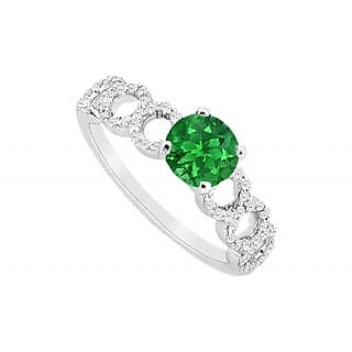 Alluring Emerald And Diamond Engagement Ring With 14K White Gold