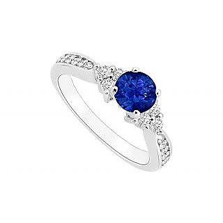 Admirable Sapphire And Diamond Engagement Ring With 14K White Gold