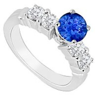 Admirable With 14K White Gold Sapphire And Diamond Engagement Ring