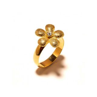 sanaa creations Gold Plated Flower on Top with CZ Fancy Ring