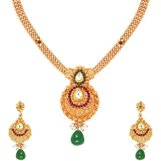 Pear Cut Kundan Traditional Necklace set by Parisha with crystal and artificial pearl NL7070013