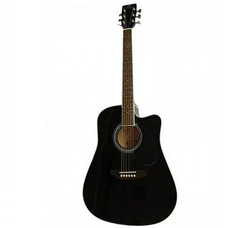 Pluto HW39C-201 Medium Cutaway Acoustic Guitar, Black