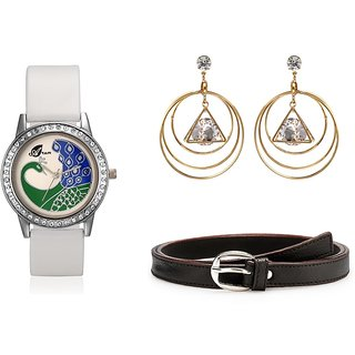 Arum Latest Combo Of White Peacock Watch With Fashion Earrings  And Brown Belt	ALC-011