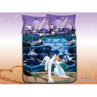 Belomoda 5D Waterfall Theme Printed Queen Size BedSheet With 2 Pillow Covers