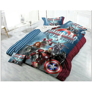 Belomoda 5D Captain America Printed Queen Size BedSheet With 2 Pillow Covers