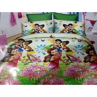 5d TinkerBell Cartoon Character Print BedSheet With 2 Pillow Covers
