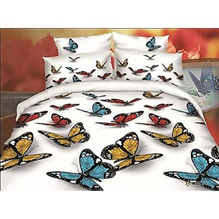 BELOMODA 5D Butterfly Print Queen Size BedSheet With 1 Pillow Cover