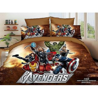 5D Avengers Super Hero Characters Print BedSheet With 2 Pillow Covers