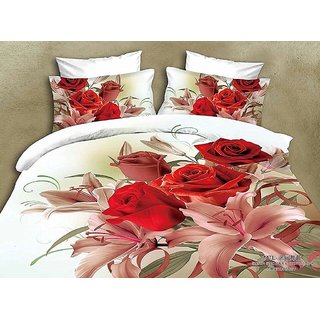 5D Rose Floral Print Queen Size BedSheet With 2 Pillow Covers