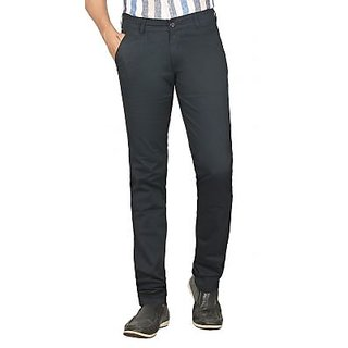 Navy Blue Slim Fit Mid Rise Cotton Lycra Trousers For Men