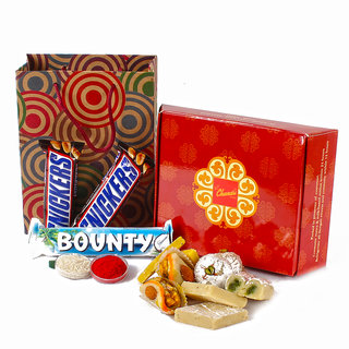 Bhai Dhooj Chocolate and Sweets Hamper with Tikka