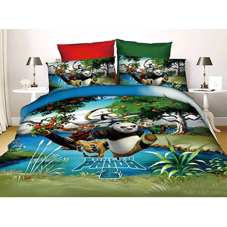 Belomoda 5D Kung Fu Panda Theme Printed Queen Size Bedsheet With 2 Pillow Covers