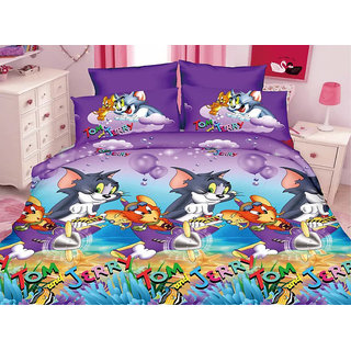 Belomoda 5D Tom & Jerry Theme Printed Queen Size Bedsheet With 1 Pillow Cover