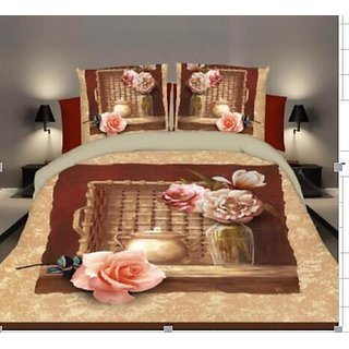 Belomoda 5D Floral Rose Print Queen Size Bedsheet With 1 Pillow Cover