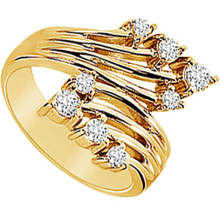 Excellent Diamond Crossover Ring With 14K Yellow Gold