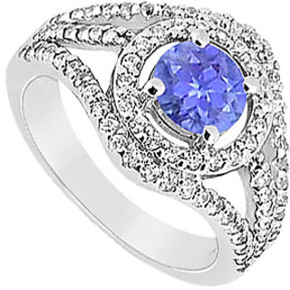 Divine Tanzanite And Diamond Engagement Ring With 14K White Gold