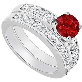 Comely With 14K White Gold Ruby And Diamond Engagement Ring With Wedding Band Set