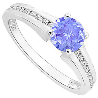 Delicate Tanzanite And Diamond Engagement Ring With 14K White Gold Design 3
